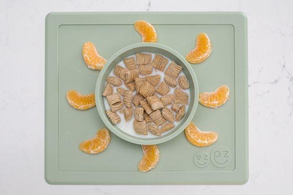 美國 EZPZ HAPPY BOWL快樂防滑餐碗/餐具/安全/無毒/矽膠 抹茶綠