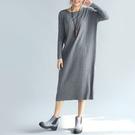現貨4折出清不退不換,慎選-洋裝 素色羅紋針織衫長洋裝 大尺碼【73-26-89881】ibella