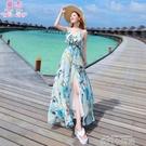 沙灘裙女泰國巴厘島度假波西米亞雪紡V領吊帶裙海邊連衣裙長裙夏 依凡卡時尚