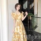 2021夏季赫本風碎花仙氣超仙森系洋裝女甜美可鹽可甜腳踝長裙子 小時光生活館