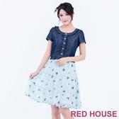 【RED HOUSE 蕾赫斯】印花雪紡牛仔洋裝(共2色)