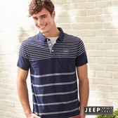【JEEP】美式風格條紋短袖POLO衫 海軍藍 (合身版)