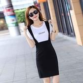 背帶裙 秋韓版新款女裝修身顯瘦OL時尚高腰包臀開叉背帶半身一步短裙