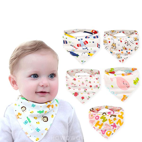 純棉三角巾 雙層 嬰兒口水巾 三角巾 雙釦領巾圍兜 新生兒 卡通口水巾 圍兜 RA01141