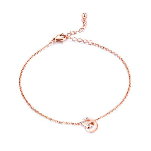 【5折超值價】時尚精美雙環造型女款鈦鋼腳鍊