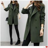 冬季毛呢外套大衣中長款韓版2018新款繭型雙排扣呢子「爆米花」