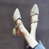 粗跟涼鞋女2019夏季新款無后跟懶人鞋外穿穆勒鞋中跟包頭半拖鞋女
