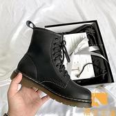 馬丁靴女英倫復古jk軟皮真皮短靴【慢客生活】