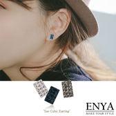 925 銀細緻方型水鑽耳環Enya 恩雅正韓飾品【EAAW7 】