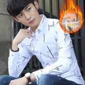 冬季男裝印花加絨加厚長袖襯衫青年時尚韓版寸衫新款保暖修身襯衣-ifashion