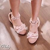 鞋子 蘿莉塔蕾絲荷葉蝴蝶結低跟鞋-Ruby s 露比午茶