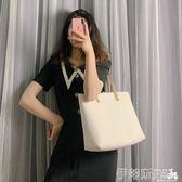 托特包女2019新款潮韓版百搭側背包大容量學生托特包簡約手提女包 伊蒂斯女裝