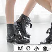 雨鞋 雨靴蝴蝶結系帶水靴可加棉絨雪地靴套鞋