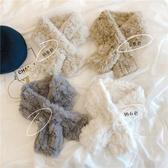 高級感  韓國東大門新款仿 兔毛交叉圍巾韓國毛絨圍脖加厚保暖女