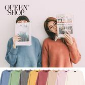 Queen Shop【01012256】素色側開衩縮口袖厚毛衣 八色售*現+預*