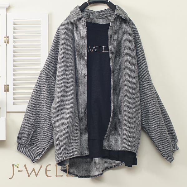 J-WELL 手縫趣味MATCH長薄T條絨襯衫二件組(組合A589 7J2110黑+9J1021淺灰)