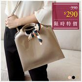 手提包-韓系簡約漆皮手提/側背包(附絲巾)-共3色-A03031331-天藍小舖