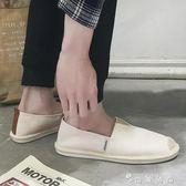 夏季亞麻帆布漁夫鞋男士懶人鞋草編休閒男鞋子一腳蹬老北京布鞋男 時尚潮流