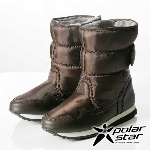PolarStar 女 保暖雪鞋│雪靴│冰爪 『棕』P13621 (內厚鋪毛/ 防滑鞋底) 雪地靴.雪地必備.雪靴