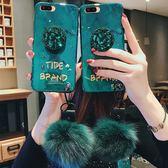 OPPO R9 R9s Plus 祖母綠 手機殼 帶鑽支架毛球掛繩 時尚潮女款奢華 全包軟殼 腕帶防摔保護套