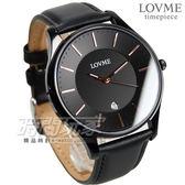 LOVME 城市簡約風時刻腕錶 防水男錶 IP黑電鍍 真皮錶帶 黑 VL0053M-33-341
