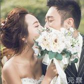 手棒花 新款婚紗攝影道具手捧花 白色旅拍攝影外景韓式新娘仿真捧花 至簡元素