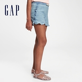 Gap女童 荷葉邊仿牛仔布短褲 679597-淺色水洗