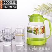 冷水壺大容量玻璃耐高溫涼白開水杯茶壺套裝家用果汁壺防爆涼水壺 新品全館85折