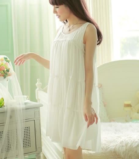 涼爽一夏 雙層雪紡蕾絲貼花宮廷睡裙 吸汗莫代爾裡襯 無袖短睡衣 -11190047