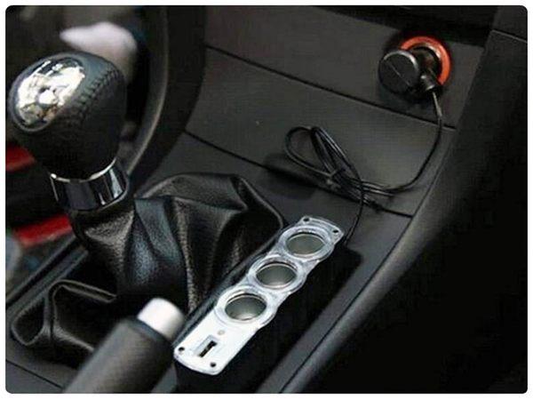 【120點菸擴充器】12V汽車點煙器 點菸器 車用充電器 擴充座 一孔變三孔 車充三孔+ USB PORT
