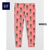 Gap女童 柔軟妙趣印花九分內搭褲 336423-珊瑚粉色
