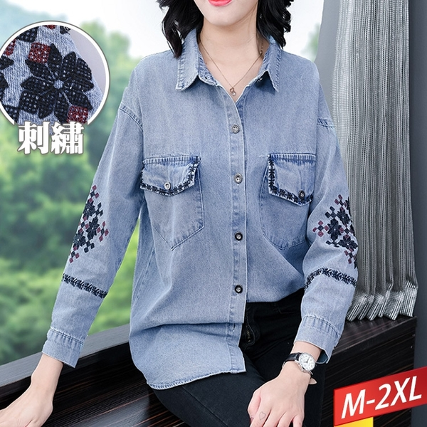 刺繡口袋牛仔上衣 M~2XL【174801W】【現+預】-流行前線-