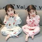 女童連體睡衣秋冬季法蘭絨0加厚保暖1珊瑚絨2歲3兒童家居服女寶寶