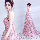 婚紗禮服 仙仙粉色新娘拖尾婚紗禮服結婚敬酒服 igo 傾城小鋪 傾城小鋪
