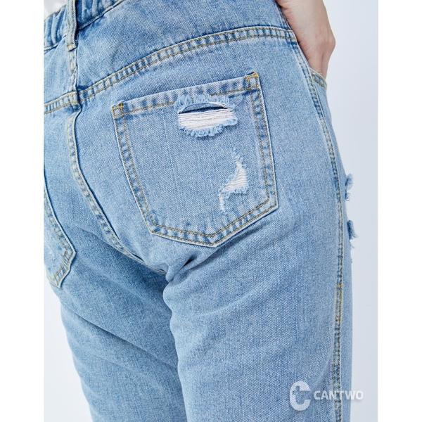 CANTWO丹寧抽鬚大破牛仔褲-藍色