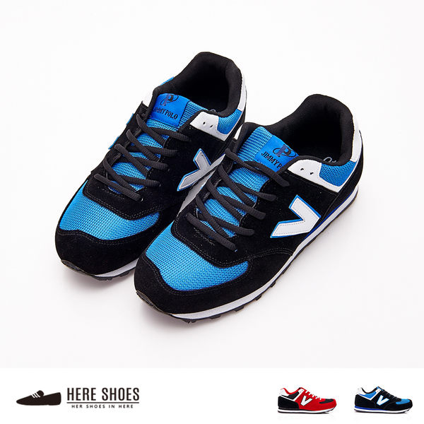 [Here Shoes]男鞋 韓版 男款 V字鞋 綁帶 慢跑鞋 運動鞋 休閒鞋 2色─AJ68050