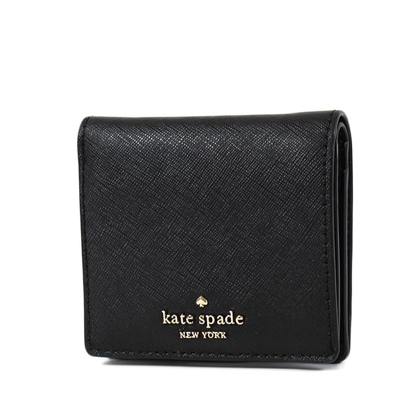 美國正品 KATE SPADE 專櫃款 立體LOGO防刮牛皮輕便釦式短夾-黑色【現貨】
