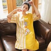 睡裙女夏季短袖棉質連衣裙子薄款帶胸墊睡衣夏天寬鬆大尺碼孕婦睡裙