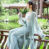 漢服 漢元素日常改良古裝中國風仙女飄逸宋褲套裝杜若學生古風漢服 巴黎春天