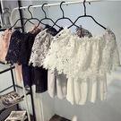 (全館一件免運費)ZUCAS -韓 蕾絲衫甜美簍空一字領短袖上衣性感露肩雪紡衫(GH-594)
