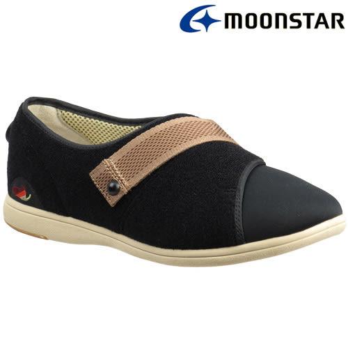 日本【MOONSTAR】Pastel 405健康照護介護鞋 - 黑(4E超寬楦)