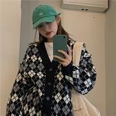 毛衣女寬鬆外穿秋冬2020年新款韓版ins潮原宿風V領菱格開衫針織衫