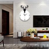 鐘表北歐現代鹿掛鐘個性時尚餐廳客廳創意靜音石英鐘HL 快速出貨八八折柜惠