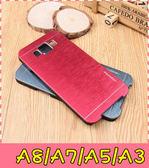 【萌萌噠】三星 Galaxy A8/A7/A5/A3(舊版) 金屬拉絲手機殼 PC硬殼 髮絲紋層次質感 手機殼 手機套 外殼