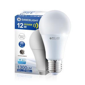 舞光 LED微波感應燈泡12W E27 全電壓 2年保固-2入組白光6500K