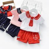 全館83折女童休閒套裝2019夏裝新款兒童海軍風兩件套女寶寶純棉短袖短褲