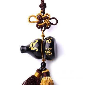葫蘆汽車掛件 六字真言佛珠款 放後視鏡裝飾 黑曜石材質