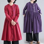 中國風刺袖娃娃裙洋裝 棉麻 獨具衣格 J2353