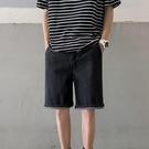 牛仔短褲男潮牌ins痞帥高街五分褲寬松休閑中褲設計感夏季六分褲