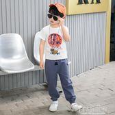 童裝男童全棉夏季款套裝2019新款中大童兒童運動短袖帥氣韓版-Ifashion